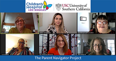 Our PN Team, left to right, consists of Fran Goldfarb (Parent Specialist and Director of UCEDD Community Education), Helen Setaghiyan (Project Coordinator), Guadalupe Lorena Eaton (Parent Navigator), Lucia Babb (Parent Navigator), Dr. Christine Mirza