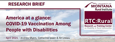 New RTC Rural Research Brief: COVID-19 vaccination among disabled people