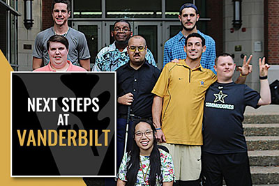 Image of a group of individuals standing in front of a building smiling at the camera text next Steps at Vanderbilt.