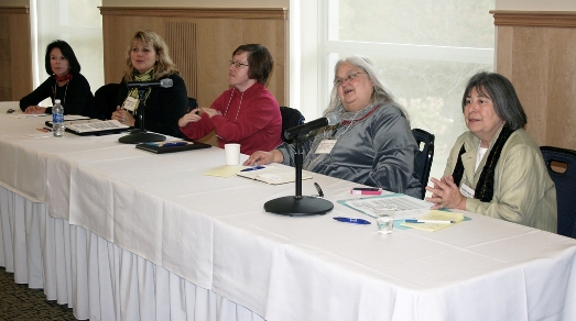 Disability as Diversity panel, left to right: Elizabeth DePoy, Julie B. Kessler, Ann Keefer, Tina Passman and Lu Zeph