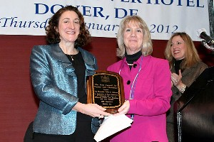 Debra Heffernan (left) receives the Legislative Award from Pat Maichle at the LIFE Conference