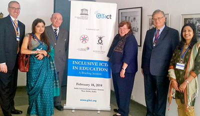 Pictured: Amy S. Goldman, co-executive director of the Institute, is pictured (third person from the right) at the G3ict Accessibility Week in New Delhi, India in February, with other distinguished attendees.