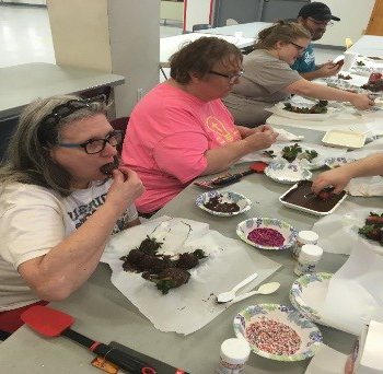 Cooking Matters participants enjoying their Valentine's Day treats
