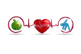 Image of an apple, heart and figure exercising