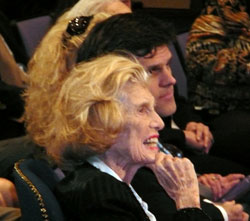 Mrs. Eunice Kennedy Shriver with her son Timothy Shriver at the ceremony to rename the Eunice Kennedy Shriver Institute for Child Health and Human Development