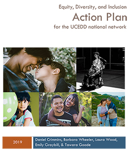 L-R Image of variety of families together. Text Equity, Diverse, and Inclusion Action Plan for the UCEDD national network.