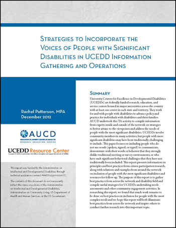 Strategies to Incorporate the Voices of People with Significant Disabilities in UCEDD Information Gathering and Operations