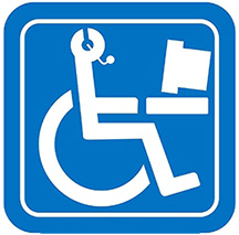 Blue accessible sign of a person in a wheelchair with a headset
