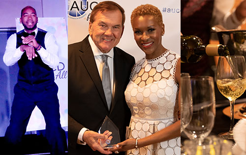 Photos of the 2019 gala: Aarron Loggins performing; Tom Ridge and Claudia Gordon smiling with his award; a glass of wine being poured.