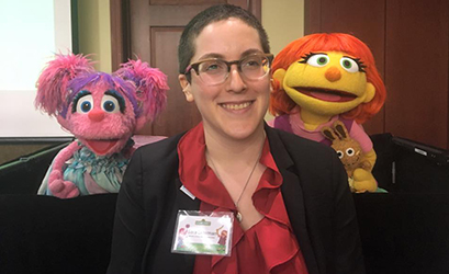 Autistic advocate and AUCD staffer Sara Luterman got to spend some time with Abby Cadabby and Julia, too. #SeeAmazing