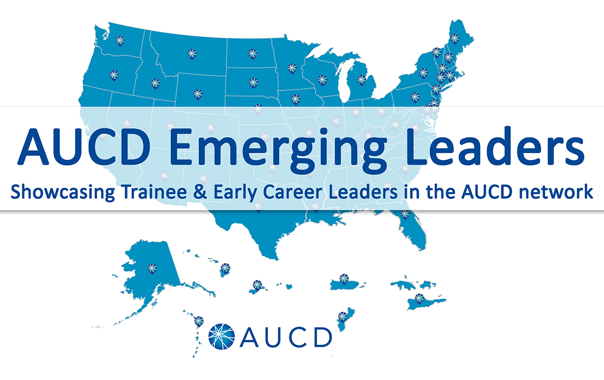 Photo of the US Map with Text AUCD Emerging Leaders Map - Showcasing Trainee & Early Career Leaders in the AUCD network