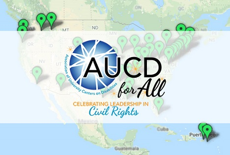 Image of of the map of the United Sates with AUCD for All overlapped