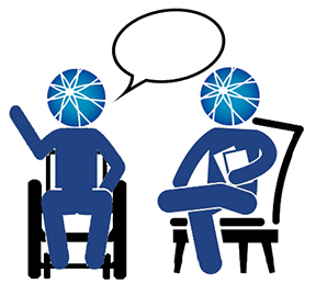 two people with AUCD logo as head sitting and talking with talking bubbles above them