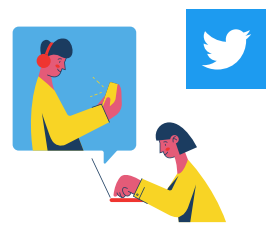 2 cartoon people typing on a computer and the twitter logo floating behind them