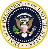 Seal of the President of the United States, eagle with blue background